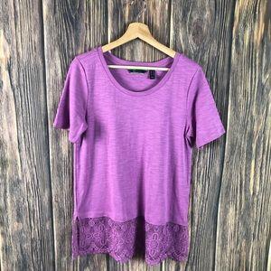 C. Wonder top purple small short sleeve lace trim